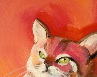 cat art- Watching the Canary