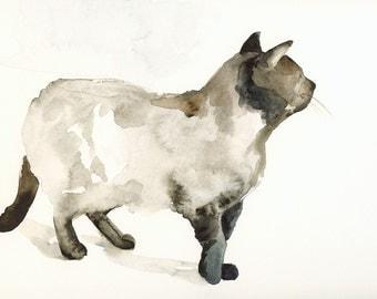 Walking on Cat Feet Archival print - cat watercolor