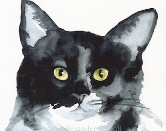 "Cat Art, cat print, cat painting print, -""The Stare"""