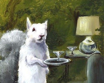 Squirrel Art, squirrel print, Albino Squirrel Art, squirrel with martini