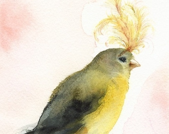 "bird art, bird painting, bird artwork bird print, bird watercolor print, ""Showgirl"" Bird Art"