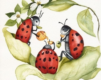 children's room art, kid's room art, nursery art, The Ladies -ladybug art, childrens room, decor, nursery