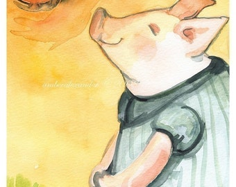 Happy Piglet in the Sun- Nursery, childrens room art
