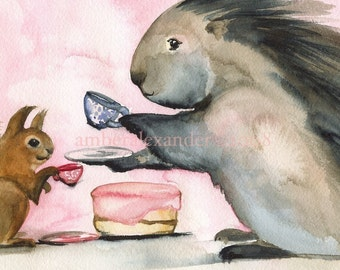 Hedgehog and Squirrel- children's room- Tea and Cake Archival Print