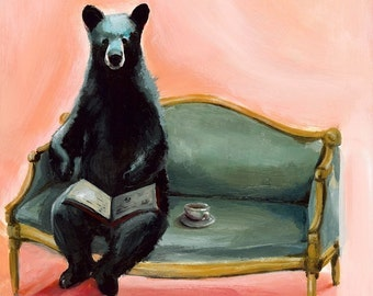 "Black Bear Art, bear art, bear painting- ""Byron"" - bear with tea"