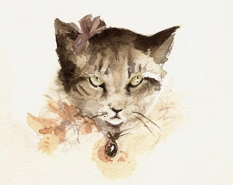 "cat art,cat watercolor, cat print- nursery decor ""Portrait of Mittens"" cat painting"