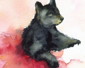 Black Bear dancing, bear art, bear painting, bear print- Dancer in Pink- Bear, tutu, children