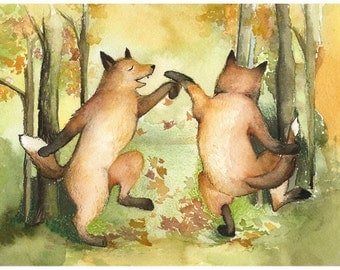 fox art, whimsical animal art, fox print, fox watercolor -Autumn Jig