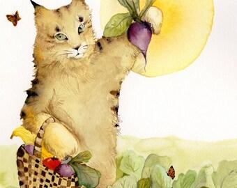 Cat art, cat painting, farming, Farmhand- cat on the farm