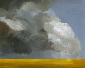 "landscape painting, art, abstract landscape, gold, grey-""Field Before the Storm""  landscape print"