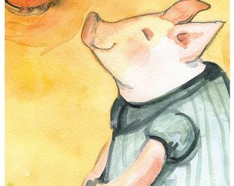 Happy Piglet in the Sun Large print-children, art, decor