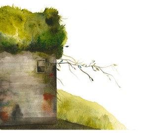 Moss House - Archival Print of Original Watercolor, gardening