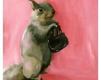 """Squirrel Print, Squirrel art, Squirrel painting- """"Viv""""- Squirrel"""