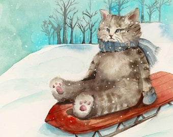 Sledding- Cat art, holiday, children, decor