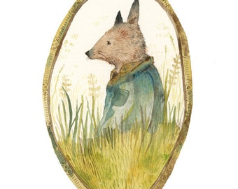 Lyle - Fox in the Field archival art print, fox art, woodland, forest