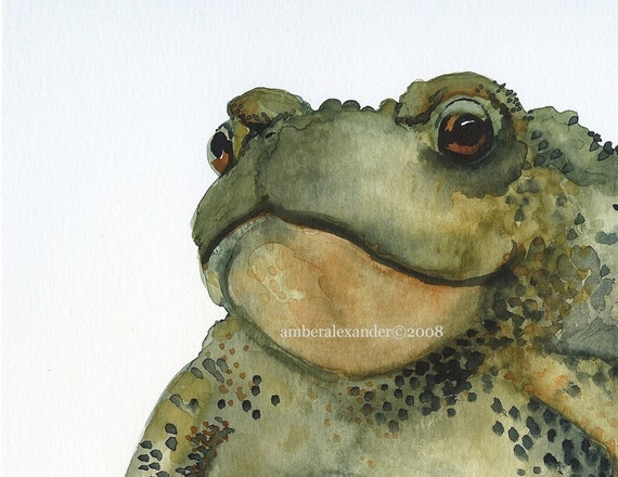 Toad Art, frog art, watercolor-BURP Print