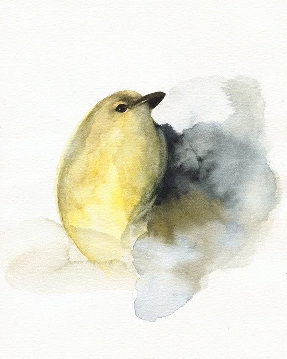 bird art , yellow bird - watercolor - COAL