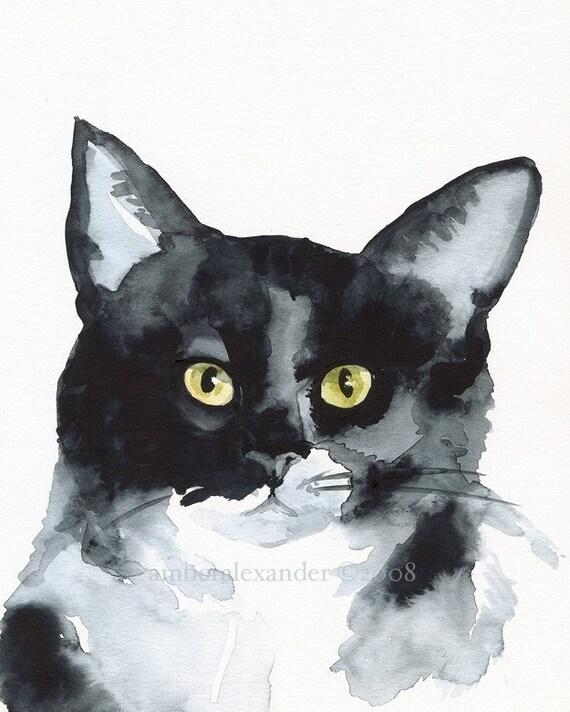 "Cat Art, cat print, cat painting print, -""The Stare"""