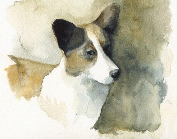 Corgi painting, corgi art, corgi print, watercolor . Sneaky Corgi Archival print, art, dog