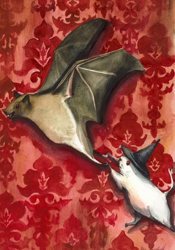 Halloween Decor -Bat and Mouse Game archival print