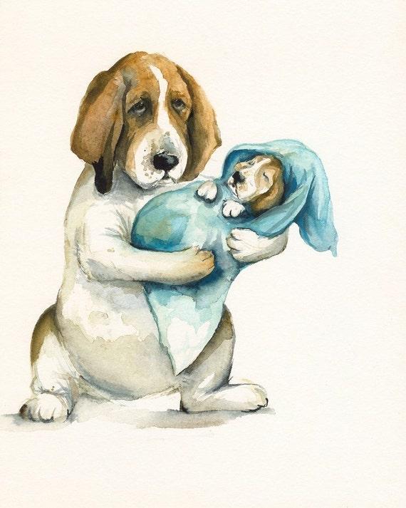 Basset Hound Art-Norma's New Baby