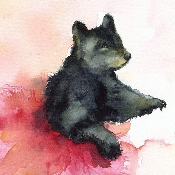 Black Bear dancing, bear art, bear painting, bear print- Dancer in Pink- Bear, tutu, children