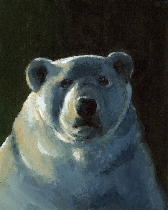 "Bear art, polar bear art, ""I'd like more Ice Please""l Art Print- Polar Bear Art"