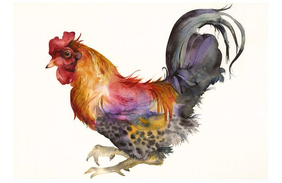 Rooster in Magenta and Gold-  LARGE Archival Print of Original Watercolor