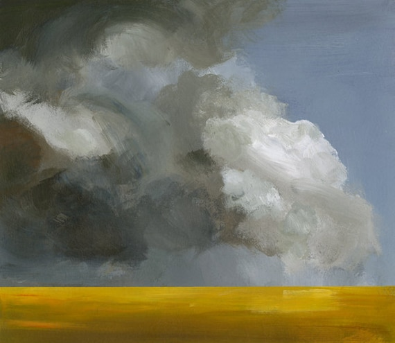 """landscape painting, art, abstract landscape, gold, grey-""""Field Before the Storm""""  landscape print"""