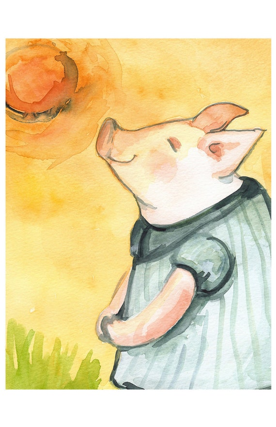 Happy Piglet in the Sun Large print-children, art, decor