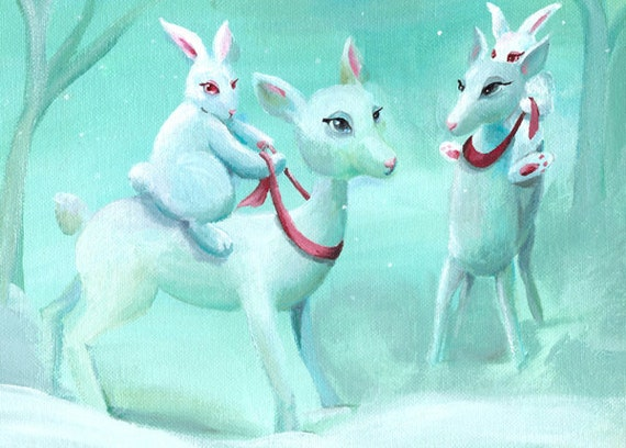bunny christmas cards, holiday cards, greeting cards- Bunny Races