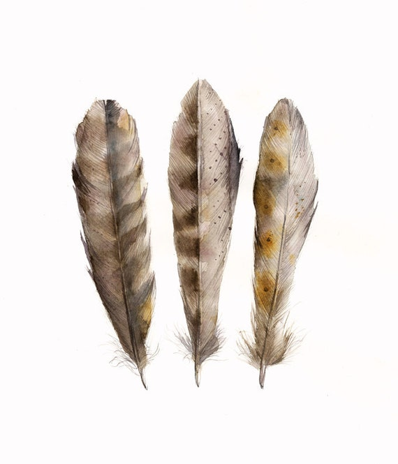 Feathers 3 Original Watercolor Painting