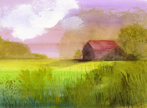 "landscape painting, farm, country, wall art, decor, green, red, pink, farmhouse-""Little Barn"" archival reproduction of original painting"