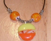 Yellow and Orange Fused Glass Pendant RESERVED FOR MINGO
