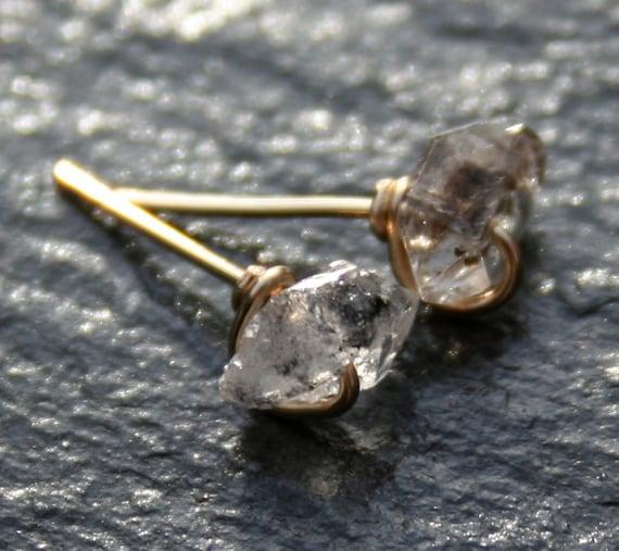 Teeny Herkimer Diamond Stud Earrings in Gold
