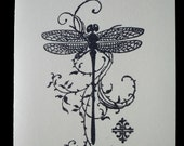 Dragonfly Stamped Card, Blank Inside