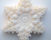 Snowflake Soap with Sparkles ...  Peppermint - Cinnamon - Vanilla twist scent .  Palm Coconut Oil  Soap