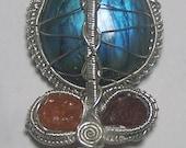 Faceted Moldavite gemstone, Orange Spessartine, Red Spessartite Garnet Crystal, large Labradorite cabochon Sterling Silver wire wrap necklace pendant with chain