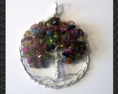 Watermelon Tourmaline Tree of Life pendant - necklace - Round - Sterling SIlver wire  - rainbow Tourmaline - mandalarain - gemmy circle