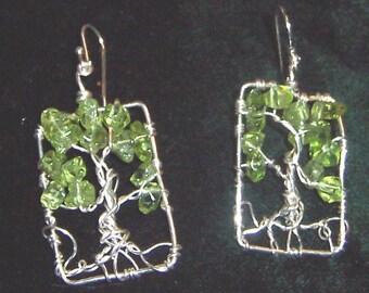 Tree of Life earrings Sterling Silver and Peridot gemstone Rectangular  - August birthday birthstone