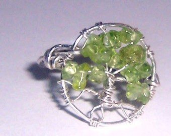 Tree of life Ring - Custom Personalized gift - Sterling Silver and peridot or other gemstone of our choice - mandalarain