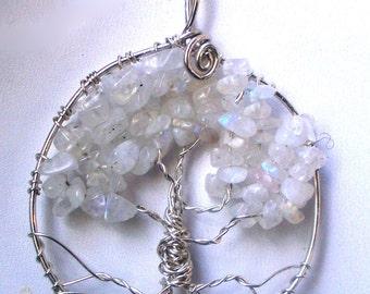 Rainbow Moonstone Tree of Life pendant necklace, Sterling Silver June birthstone circle round or rectangular, Winter Wedding Snow Ice Tree
