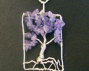 Genuine Tanzanite Gemstone and Sterling Silver Tree of Life necklace