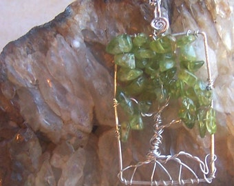 Peridot Tree of life necklace, Sterling Silver rectangle- green gemstone - August Birthday birthstone - pendant and chain