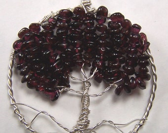 Garnet Tree of Life necklace pendant  - Dark Red Garnet - garnet necklace - garnet pendant - sterling silver - round circle - wire wrapped