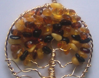 Tree of Life necklace pendant Amber and Gold, comes with chain - Autumn fall leaves foliage colors fashion Yellows and Browns