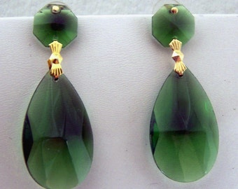 Large Emerald Green Earrings inspired by pair worn by Angelina Jolie  Oscar / Academy Awards SALE free domestic shipping