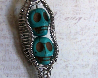 CLEARANCE SALE Day of the Dead necklace - Pea Pod pendant - UNIQUE -  Turquoise stone skull bead -Sugar Skull - Nightmare before Christmas