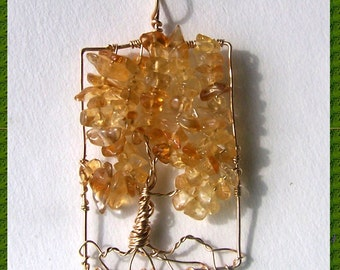 Citrine  Tree of Life necklace pendant - Citrine Gemstone - Gold Fill pendant - November birthstone - wire wrapped Tree of Life