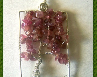 Pink Tourmaline Tree of Life pendant - Sterling Silver - Rectangular - Comes with chain - October Birthstone